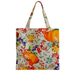 Autumn Flowers Pattern 11 Zipper Grocery Tote Bag