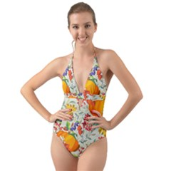 Autumn Flowers Pattern 11 Halter Cut Out One Piece Swimsuit