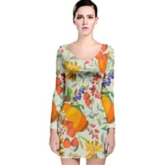 Autumn Flowers Pattern 11 Long Sleeve Velvet Bodycon Dress