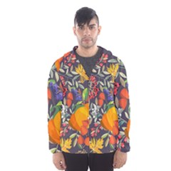 Autumn Flowers Pattern 12 Hooded Wind Breaker (men)