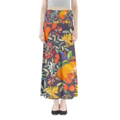 Autumn Flowers Pattern 12 Full Length Maxi Skirt