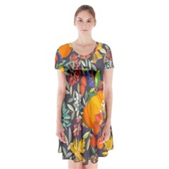 Autumn Flowers Pattern 12 Short Sleeve V Neck Flare Dress