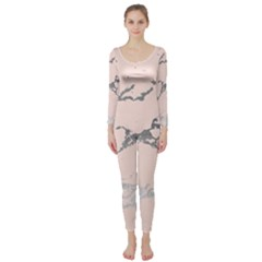 Luxurious Pink Marble 1 Long Sleeve Catsuit