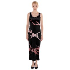Luxurious Pink Marble 2 Fitted Maxi Dress