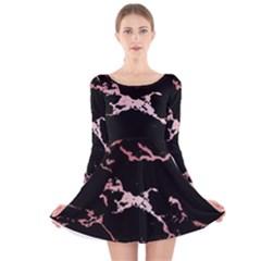 Luxurious Pink Marble 2 Long Sleeve Velvet Skater Dress