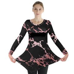 Luxurious Pink Marble 2 Long Sleeve Tunic