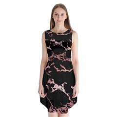 Luxurious Pink Marble 2 Sleeveless Chiffon Dress