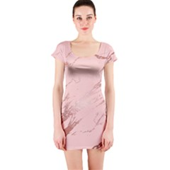Luxurious Pink Marble 3 Short Sleeve Bodycon Dress