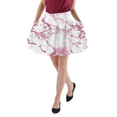 Luxurious Pink Marble 4 A Line Pocket Skirt