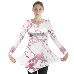 Luxurious Pink Marble 4 Long Sleeve Tunic