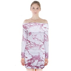 Luxurious Pink Marble 4 Long Sleeve Off Shoulder Dress