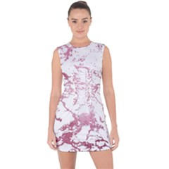 Luxurious Pink Marble 4 Lace Up Front Bodycon Dress
