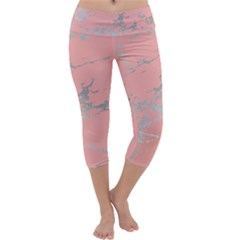 Luxurious Pink Marble 6 Capri Yoga Leggings