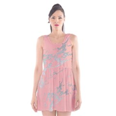 Luxurious Pink Marble 6 Scoop Neck Skater Dress