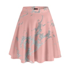 Luxurious Pink Marble 6 High Waist Skirt