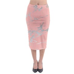 Luxurious Pink Marble 6 Midi Pencil Skirt