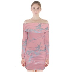 Luxurious Pink Marble 6 Long Sleeve Off Shoulder Dress
