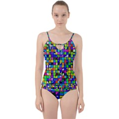 Colorful Squares Pattern                       Cut Out Top Tankini Set