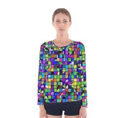 Colorful Squares Pattern                             Women Long Sleeve T Shirt