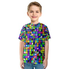 Colorful Squares Pattern                             Kid s Sport Mesh Tee
