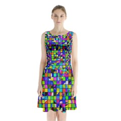 Colorful Squares Pattern                                 Sleeveless Waist Tie Dress