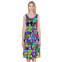 Colorful Squares Pattern                       Midi Sleeveless Dress