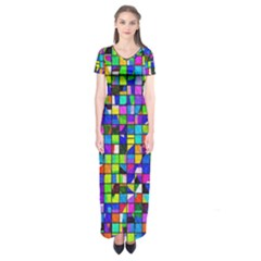Colorful Squares Pattern                        Short Sleeve Maxi Dress