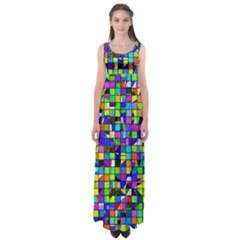 Colorful Squares Pattern                        Empire Waist Maxi Dress