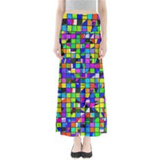 Colorful Squares Pattern                        Women s Maxi Skirt