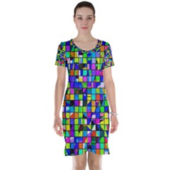 Colorful Squares Pattern                             Short Sleeve Nightdress