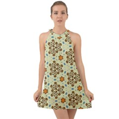 Stars And Other Shapes Pattern                                  Halter Tie Back Chiffon Dress