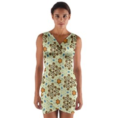 Stars And Other Shapes Pattern                                  Wrap Front Bodycon Dress