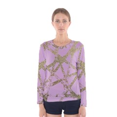 Modern,abstract,hand Painted, Gold Lines, Pink,decorative,contemporary,pattern,elegant,beautiful Women s Long Sleeve Tee