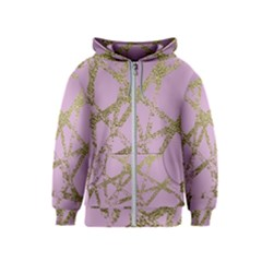 Modern,abstract,hand Painted, Gold Lines, Pink,decorative,contemporary,pattern,elegant,beautiful Kids  Zipper Hoodie
