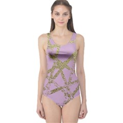 Modern,abstract,hand Painted, Gold Lines, Pink,decorative,contemporary,pattern,elegant,beautiful One Piece Swimsuit
