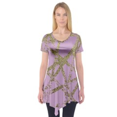 Modern,abstract,hand Painted, Gold Lines, Pink,decorative,contemporary,pattern,elegant,beautiful Short Sleeve Tunic