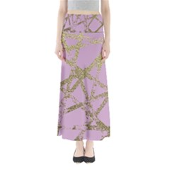 Modern,abstract,hand Painted, Gold Lines, Pink,decorative,contemporary,pattern,elegant,beautiful Full Length Maxi Skirt