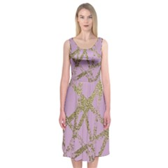 Modern,abstract,hand Painted, Gold Lines, Pink,decorative,contemporary,pattern,elegant,beautiful Midi Sleeveless Dress