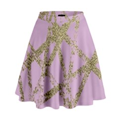 Modern,abstract,hand Painted, Gold Lines, Pink,decorative,contemporary,pattern,elegant,beautiful High Waist Skirt