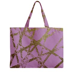 Modern,abstract,hand Painted, Gold Lines, Pink,decorative,contemporary,pattern,elegant,beautiful Zipper Medium Tote Bag