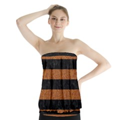Stripes2 Black Marble & Rusted Metal Strapless Top