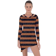Stripes2 Black Marble & Rusted Metal Asymmetric Cut Out Shift Dress