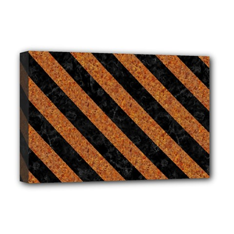 Stripes3 Black Marble & Rusted Metal Deluxe Canvas 18  X 12