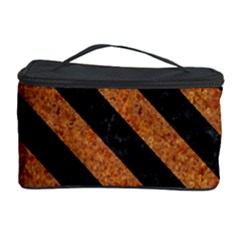 Stripes3 Black Marble & Rusted Metal Cosmetic Storage Case