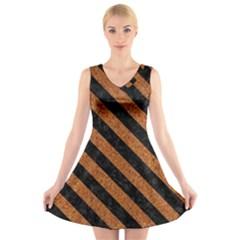 Stripes3 Black Marble & Rusted Metal V Neck Sleeveless Skater Dress