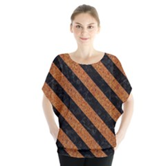 Stripes3 Black Marble & Rusted Metal Blouse
