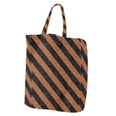 Stripes3 Black Marble & Rusted Metal Giant Grocery Zipper Tote