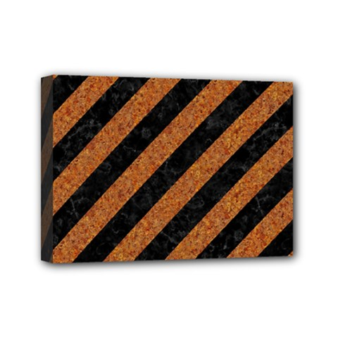 Stripes3 Black Marble & Rusted Metal (r) Mini Canvas 7  X 5