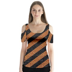 Stripes3 Black Marble & Rusted Metal (r) Butterfly Sleeve Cutout Tee