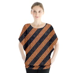 Stripes3 Black Marble & Rusted Metal (r) Blouse